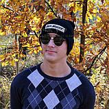Модная мужская шапка Off-White черная Турция Офф вайт Хайповая шерсть Трендовая зима VIP Молодежная реплика, фото 7
