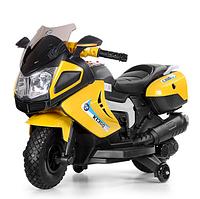 Детский электромотоцикл 3625 EL-6 желтого цвета.