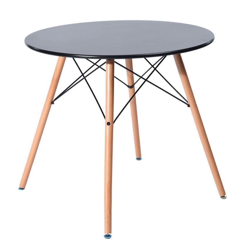 Стол обеденный Тауэр Вуд, дерево, бук, диаметр 100 см, цвет черный