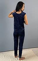 Синий велюровый комплект: штаны и майка, фото 2