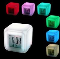 Часы ночник Хамелеон | Цифровые светодиодные часы Куб | Часы с будильником и термометром