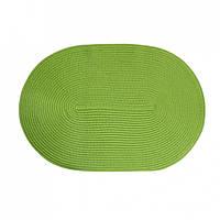 Коврик сервировочный  под столовые приборы, овальный зеленый, полипропилен, 30х45 см, ТМ МД