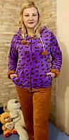 Пижама женская теплая, махровая с длинным рукавом р.44-52
