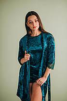 Велюровая пижама: комплект майка+шорты (изумрудная), фото 2