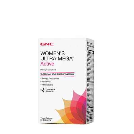 Мультивитамины для женщин GNC Women's Ultra Mega Active 90 caplets, фото 2