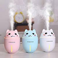 """Увлажнитель воздуха ультразвуковой в детскую комнату""""Happy Cat"""" 3в1(,usb-вентилятор,led-светильник) Розовый"""