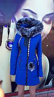 Зимняя женская куртка с натуральным мехом в стиле европейка футляр