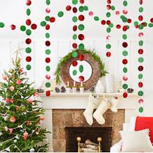 """Гірлянда новорічна на нитки """"Гуртки"""" - довжина нитки 4м (діаметр кружка 5см)"""