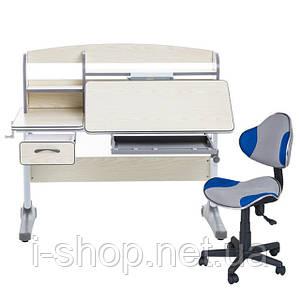 Растущий комплект для школьников парта Cubby Ammi Grey + компьютерное кресло LST3 Blue-Grey
