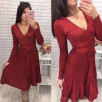 Женское нарядное платье с люрексом плиссированное красное, фото 1