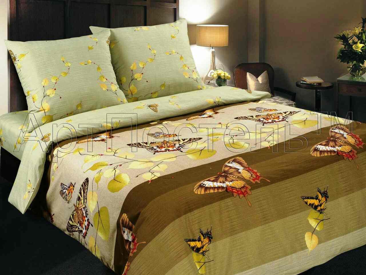 Двухспальный постельный комплект Вальс оливка