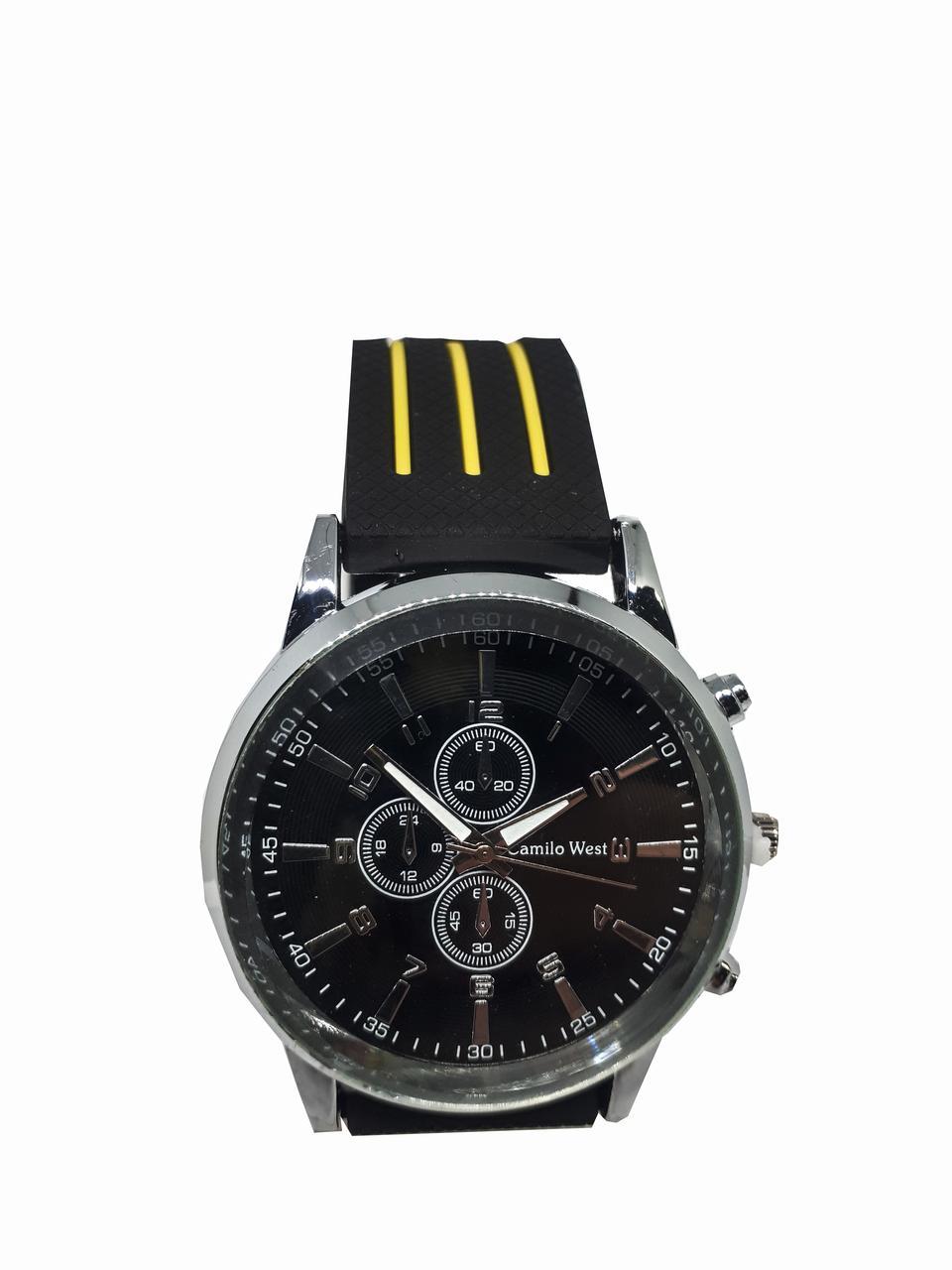 Часы молодежные мужские Camilo West на силиконовом ремешке. Желтый