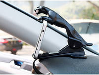 Держатель для телефона смартфона в автомобиль Черная пантера фиксируется с помощью клипсы за торпеду