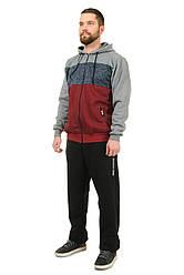 Теплий чоловічий спортивний костюм з трикотажу трехнитка з начосом і вставок з крупновязанного трикотажу (508)