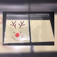Новогодний пакет для упаковки конфет, выпечки 10х10+3см, шт