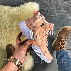 Жіночі кросівки Nike Air Huarache MID Winter (хутро) (персикові)