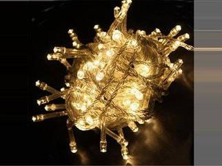 Гирлянда нить светодиодная на 300 LED теплый белый цвет 14,1 м