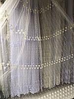 Тюль в 4 ряда вышивки для кухни, спальни на основе фатиновой сетки №2009 Цвет: Молочный