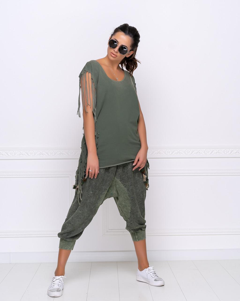 Стильные модные красивые  бриджи-афгани с карманами.Пояс и манжет на резинке.зеленые