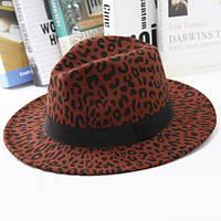 Шляпа женская фетровая Федора с устойчивыми полями и лентой леопардовая красная, фото 1