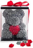 Мишка из роз 40 см, мишка из роз с сердечком, подарок любимой на 14 февраля, ведмедик з роз, мишка из цветов