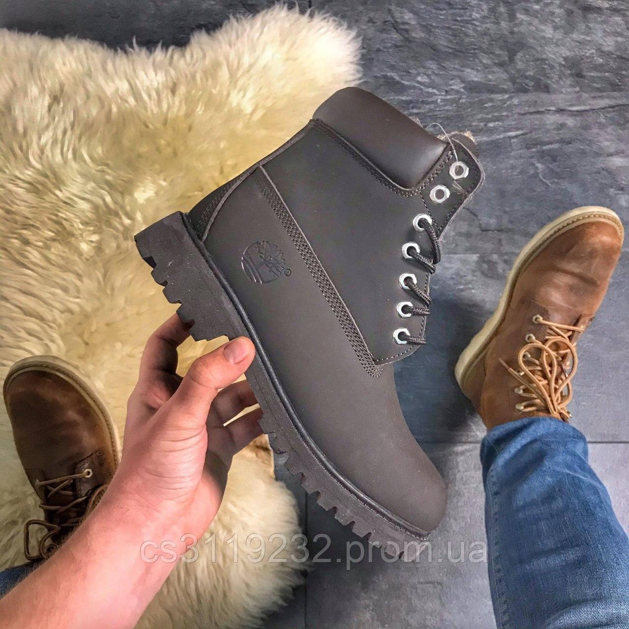 Мужские ботинки зимние Timberland Chocolate Fur (мех) (коричневый)