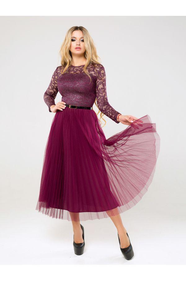 Вечірня сукня з спідницею плісе на корпоратив з 42 по 50 розмір