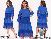 Элегантное женственное платье с рукавами на резинке и кружевным декором с 50 по 64 размер, фото 1