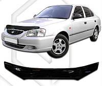 Дефлектор капота  Hyundai Accent II с 1999-2005, Мухобойка Hyundai Accent II