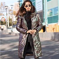 Куртка стильная  женская зимняя удлиненная с переливающимся эффектом