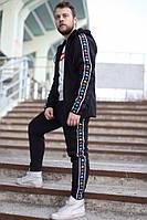Мужской спортивный костюм теплый на флисе Kappa черный