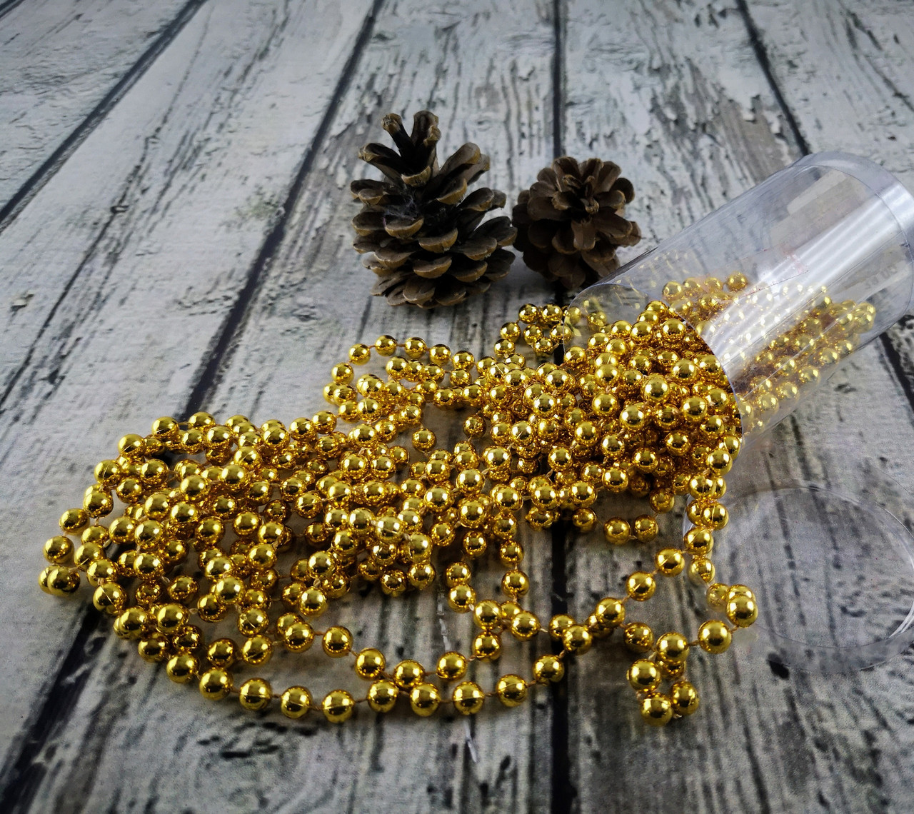 Новогодние Бусы на елку 7,5 мм Золото 5,5 м в тубусе 91543-PN Pioner