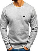 Мужской свитшот Nike серый (маленькая эмблема) реплика