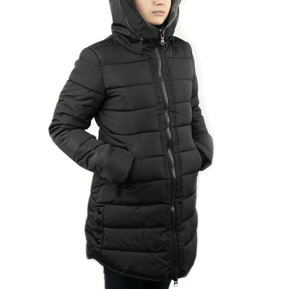Женская Куртка Длинная Зима-Осень L (48-50) (WO003) Черная
