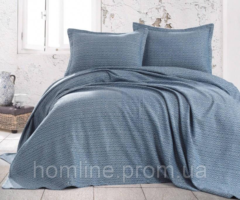 Покрывало Пике с наволочками 230*240 Eponj Home Venus petrol-mavisi синий
