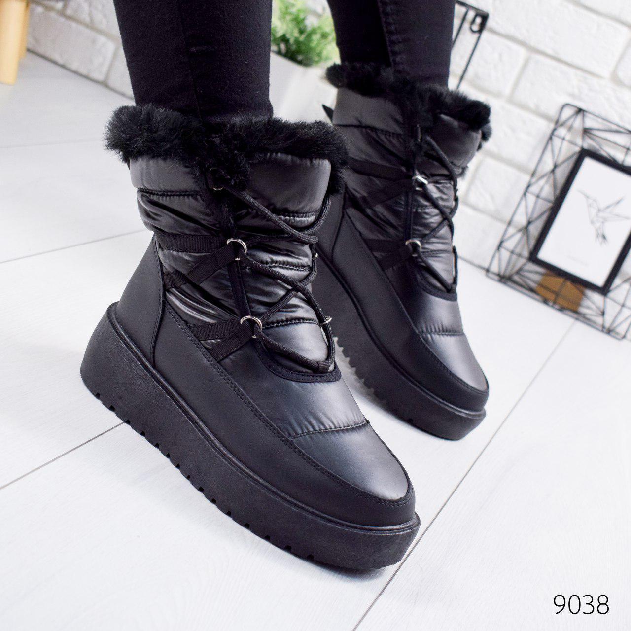 """Ботинки женские зимние, черного цвета из плащевки """"9038"""". Черевики жіночі. Ботинки теплые"""