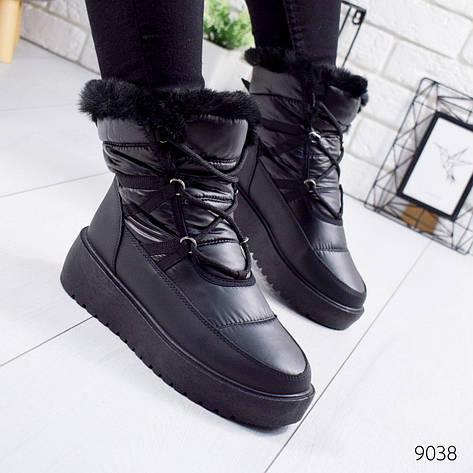 """Ботинки женские зимние, черного цвета из плащевки """"9038"""". Черевики жіночі. Ботинки теплые, фото 2"""