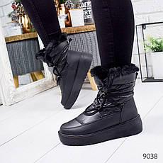 """Ботинки женские зимние, черного цвета из плащевки """"9038"""". Черевики жіночі. Ботинки теплые, фото 3"""