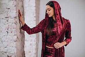 Бордовый велюровый костюм, фото 2