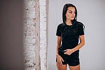 Черный велюровый комплект: майка+шорты, фото 3