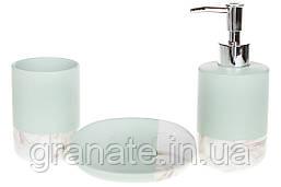 Набор для ванной: дозатор 350мл, стакан 300мл для зубных щеток, мыльница, цвет - мятный