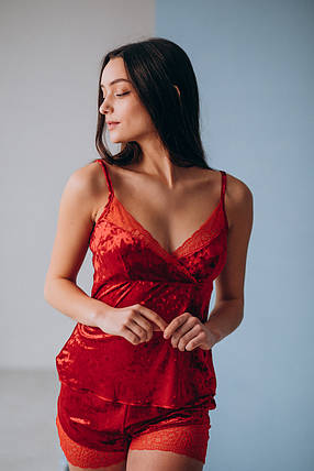 Красный бархатный костюм, фото 2