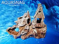 Кораблик с домиком на скале,  дл 21.5см, шир 10см, выс 17см, фото 1