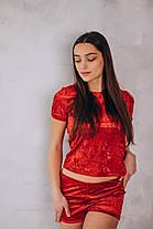 Красный велюровый костюм, фото 3
