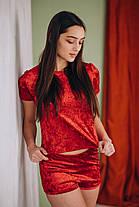Красный велюровый костюм, фото 2