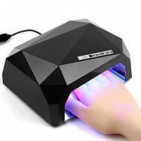 Лампа для маникюра многогранник с СЕНСОРОМ LED+CCFL гибрид 36 Вт Черная