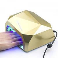 Лампа для маникюра многогранник с СЕНСОРОМ LED+CCFL гибрид 36 Вт Золотая