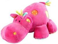BABY ONO Мягкая велюровая игрушка с погремушкой Бегемот маленькая 994