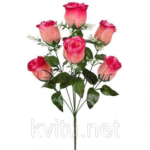 Искусственные цветы букет розы в бутоне с прожилками, 55см