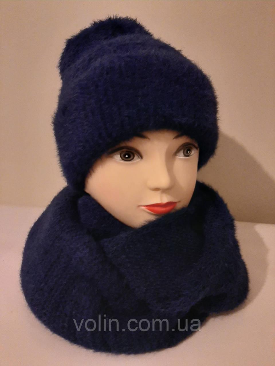 Женские комплекты шапка и хомут с ангорой.